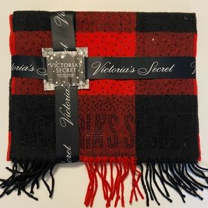 Victoria Secret Red and Black Plaid Fringe Scarf